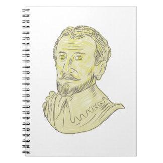Cuaderno Dibujo español del siglo XV del busto del