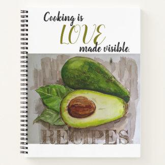 Cuaderno Diseño del arte del aguacate que cocina el