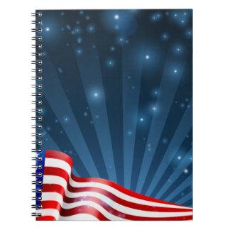 Cuaderno Diseño del fondo de la bandera americana