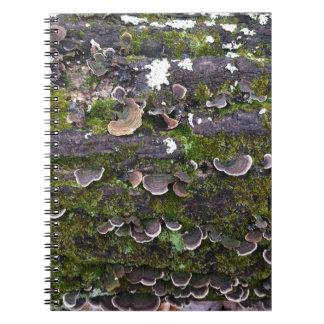 Cuaderno diversión cubierta de musgo de la seta