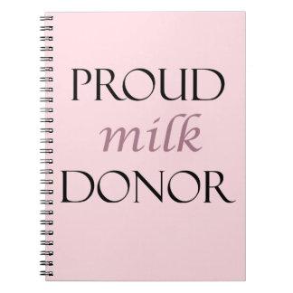 Cuaderno Donante orgulloso de la leche con la escritura