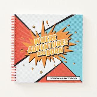 Cuaderno Donde están cómicas las aventuras nacido diseñe el