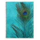 Cuaderno Dos plumas del pavo real de la aguamarina