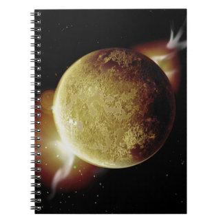 Cuaderno ejemplo amarillo del planeta 3d en universo