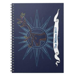 Cuaderno Ejemplo azul del arte del navidad del día de