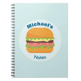 Cuaderno Ejemplo de la hamburguesa con el tomate y la