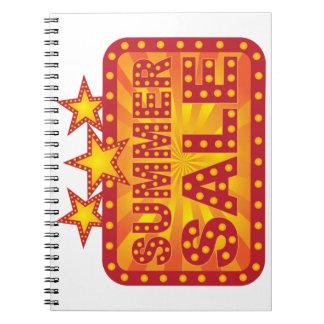 Cuaderno Ejemplo retro de la muestra de la venta del verano
