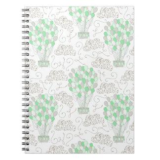 Cuaderno El aire caliente hincha arte verde de la