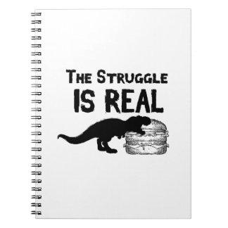 Cuaderno el dinosaurio T Rex el Struggl es hamburguesa real