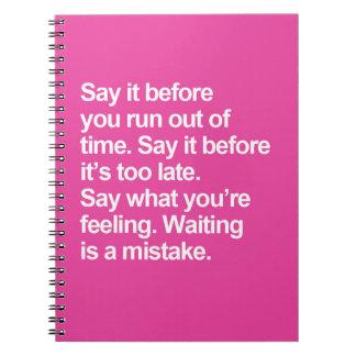 Cuaderno El esperar es una cita del error