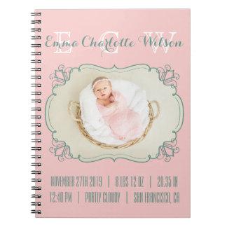 Cuaderno El monograma recién nacido de la foto del bebé se