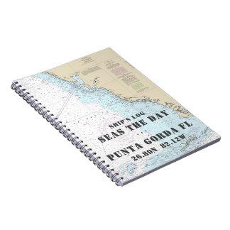 Cuaderno El registro de nave náutico de la carta de la