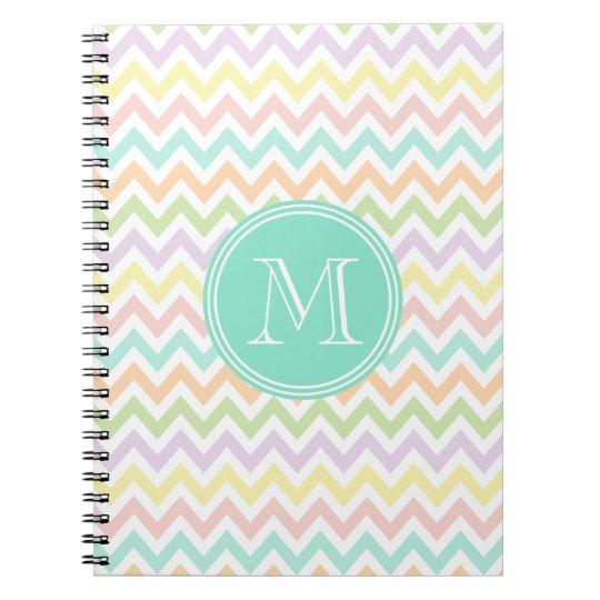 Cuaderno Elegante geometría de chevrón multicolor monograma