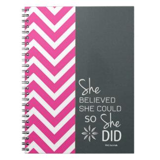 Cuaderno Ella creyó que ella podría espiral (del gris