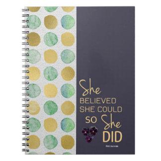 Cuaderno Ella creyó que ella podría espiral (del oro