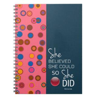 Cuaderno Ella creyó que ella podría (espiral del rosa del