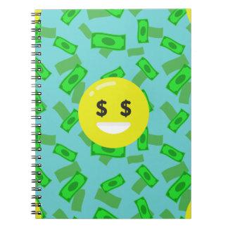 Cuaderno emoji observado dinero