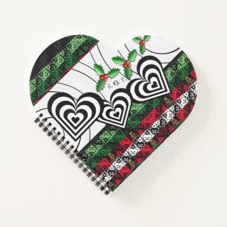 Cuaderno en forma de corazón del día de fiesta de