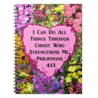 CUADERNO ESCRITURA FLORAL BONITA DEL 4:13 DE LOS FILIPENSES