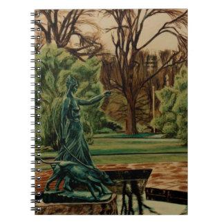 Cuaderno Escultura de Diana Artemis en jardines