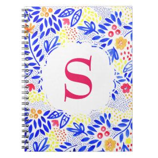 Cuaderno Cuaderno espiral azul personalizado colorido