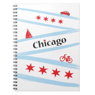 Cuaderno espiral de la bandera de Chicago