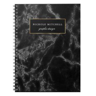 Cuaderno espiral de mármol negro