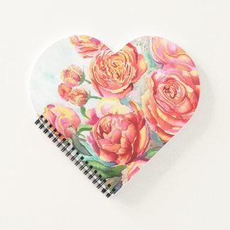 Cuaderno espiral del corazón con la impresión