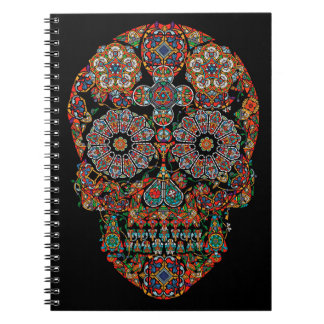 Cuaderno espiral del cráneo del azúcar de la flor
