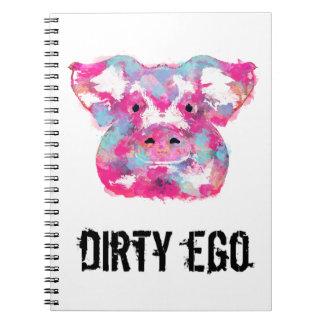 Cuaderno espiral del ego del ego sucio rosado