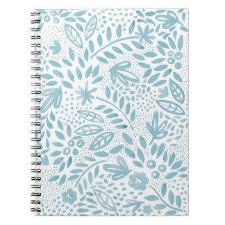 Cuaderno Cuaderno espiral floral azul de la belleza