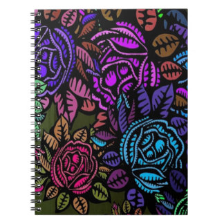 Cuaderno espiral floral colorido