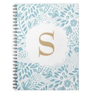 Cuaderno Cuaderno espiral personalizado floral azul en