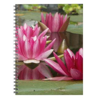 Cuaderno Espiral rosado de la foto de los lirios de agua -