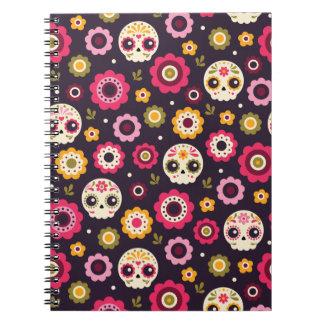Cuaderno Estampado de flores mexicano del cráneo del azúcar