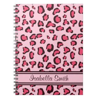 Cuaderno Estampado leopardo rosado falso con nombre