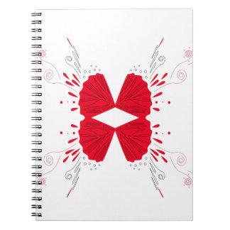 Cuaderno Ethno rojo del tatuaje de la alheña en blanco