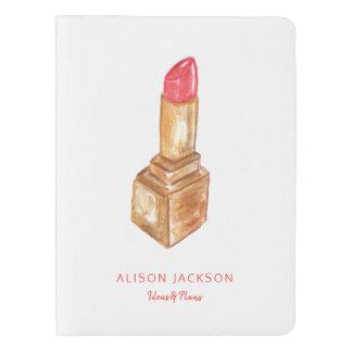 Cuaderno Extragrande Moleskine Lápiz labial pintado a mano de la acuarela del oro