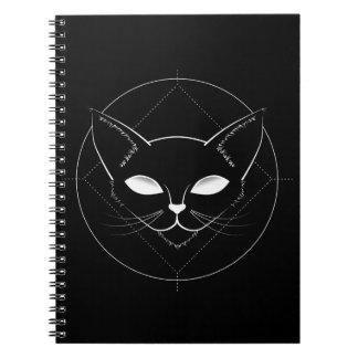 Cuaderno extranjero del negro del gato