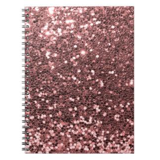 Cuaderno Falsa impresión del brillo del oro color de rosa