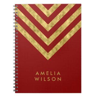 Cuaderno Falso modelo conocido rojo elegante de Chevron del