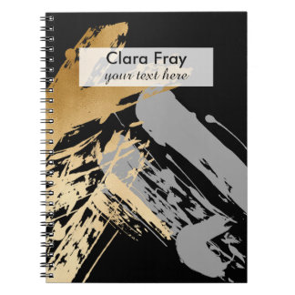 Cuaderno falso oro elegante y pinceladas grises