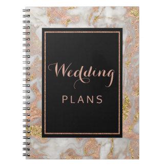 Cuaderno Falso planificador color de rosa moderno del boda