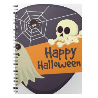 Cuaderno Fantasmas y bandera pirata del feliz Halloween