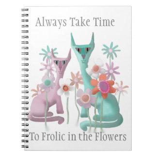 Cuaderno Felines en flores