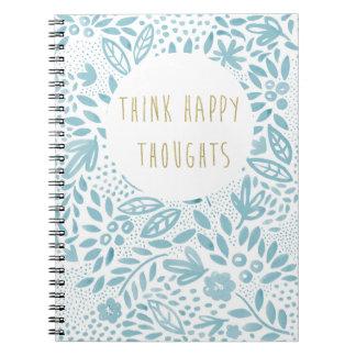 Cuaderno Cuaderno feliz azul de los pensamientos de la