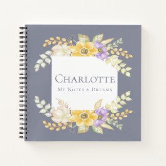 Cuaderno Flor bonita púrpura amarilla personalizada
