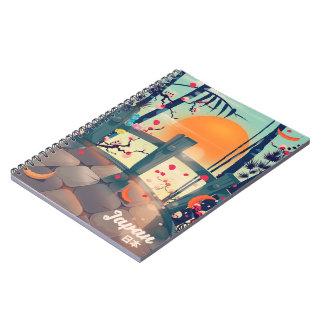Cuaderno Flor de Japón del poster de las vacaciones del