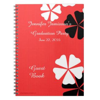Cuaderno Floral blanco negro rojo del libro de visitas de