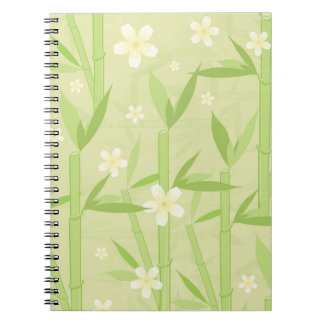 Cuaderno floral de bambú de la decoración